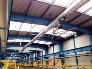ventilateur de plafond powerfoil ateliers sncf big ass fans turbobrise
